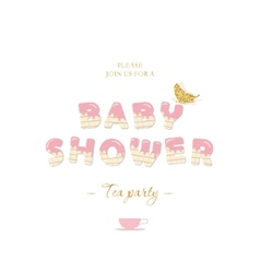 Baby shower girl invitation card template vector image