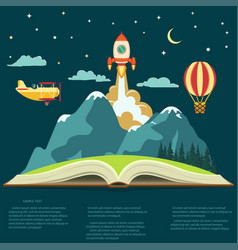 imagination concept open book with a mountain vector image