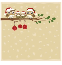 owl christmas celebration vector image vector image
