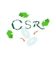 recycle symbol with corporate social responsibilit vector image vector image