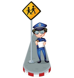 A policeman writing with a yellow signage vector image