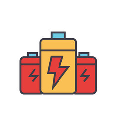 battery energy power flat line vector image vector image