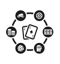 black casino icon set vector image