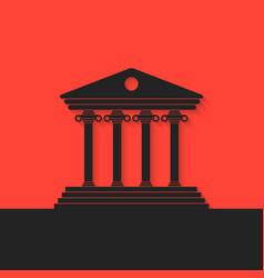 black greek colonnade on red background vector image