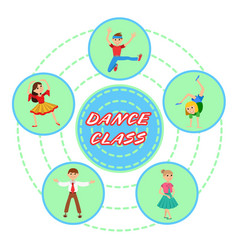 children dancing round icons set vector image