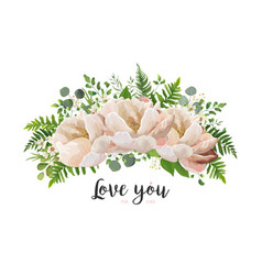 flower bouquet design element with peach peonies vector image