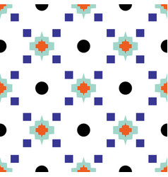 geometric eastern motif blue and white seamless vector image vector image