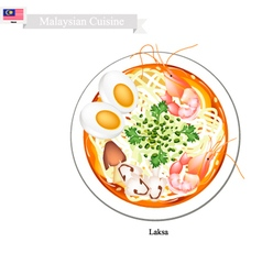 Laksa or Malaysian Spicy Rice Noodle Soup vector image