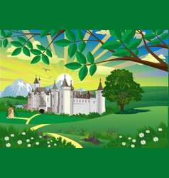landscape - countryside castle mountains in the vector image vector image