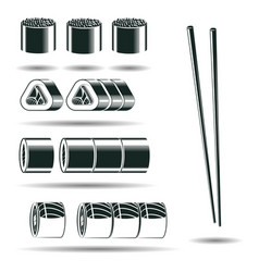 monochrome sushi signs vector image vector image