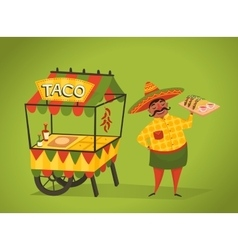 Shopkeeper sells tacos on the street Mexican food vector image