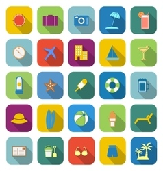 Summer color icons with long shadow vector