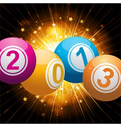 2013 bingo lottery balls background with gold star vector image