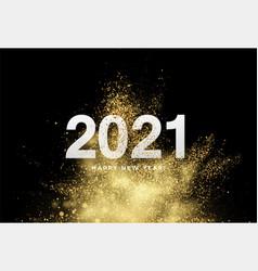 2021 inscription on background gold glitter vector image
