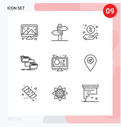 9 outline concept for websites mobile and apps vector