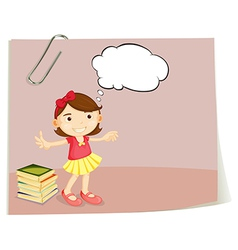 A piece of paper with a girl vector image vector image