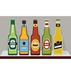 A row of full beer bottles on a shelf SET 2 vector image vector image