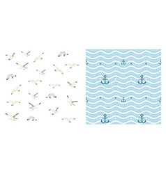 anchor seagulls and waves vector image