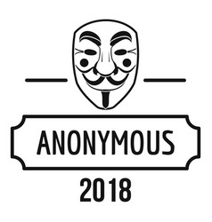 anonymous logo simple black style vector image vector image