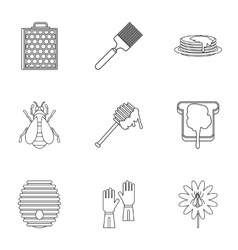 Apiary icons set outline style vector