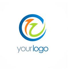 arrow progress round logo vector image