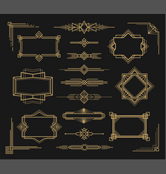 art deco frame and border ornament set vector image