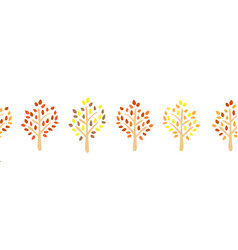autumn tree silhouette seamless border vector image