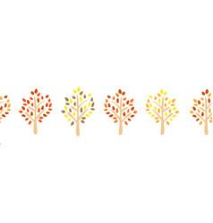 autumn tree silhouette seamless border vector image