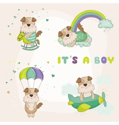Baby dog set - shower or arrival card vector
