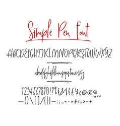 Ballpen lettering alphabet vector