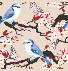 Bird on cherry branch seamless vector
