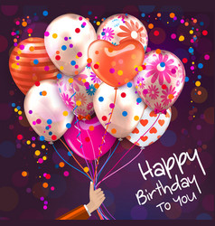 Birthday card with hand holds colorful balloons vector