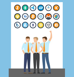 bitcoin financial workers males in suits vector image