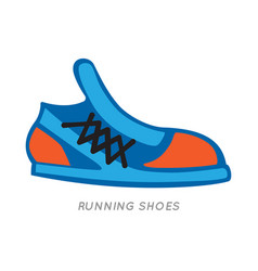 Blue-orange running shoes icon isolated on white vector