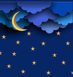Blue paper clouds on night sky with paper moon vector