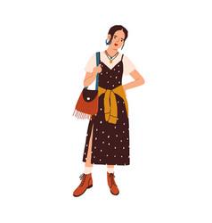 boho style fashion outfit female model vector image