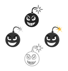 Bomb virus icon in cartoonblack style isolated on vector