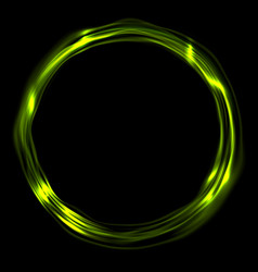 Bright green glossy iridescent ring circle vector
