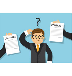 businessman chooses a profitable contract vector image