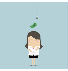 businesswoman with a dollar sign as bait vector image