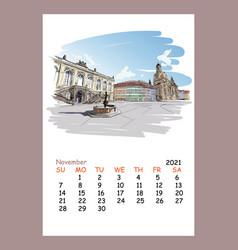 Calendar sheet november month 2021 year dresden vector