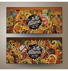 Cartoon doodles Autumn banners vector image