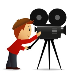 cartoon man with movie camera vector image