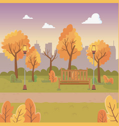 city park scene with lanterns and chair vector image