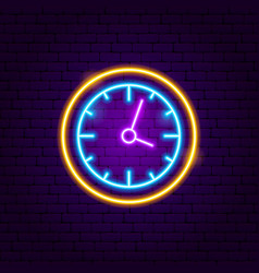 clock neon sign vector image