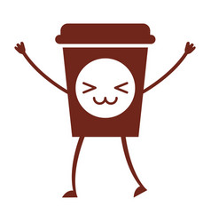 Coffee plastic cup kawaii character vector