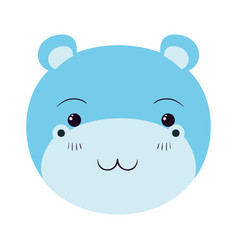 Colorful caricature cute face of hippo tranquility vector