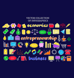 colorful infographic business economic icons set vector image vector image