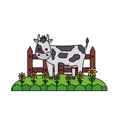 cow fence farm vector image