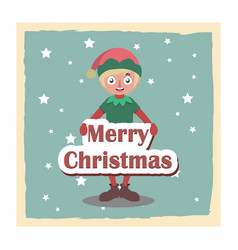 cute happy christmas elf holding a sign vector image
